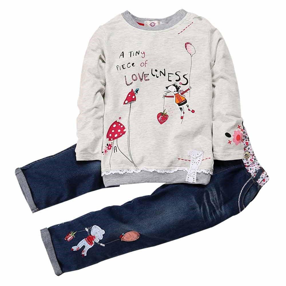 2 PCS Little Girl's Cartoon Pullover Shirt and Jeans Pants Fuzhou Shang Ku Trade Co. Ltd.