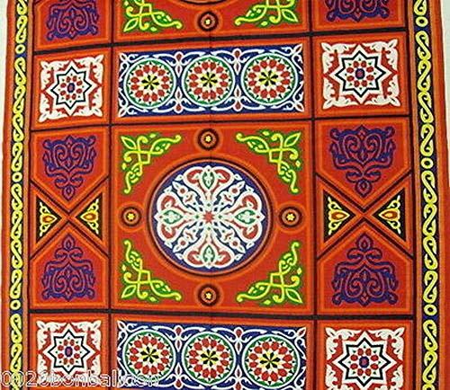 Traditional Egyptian Egypt Khayameya Khyamya Khayamiya Tent Fabric Arabian Arabic Islamic Middle East Colorful Decor Decorative Decoration Ramadan Eid Fabric 214 (4 Yard = 364 cm)]()