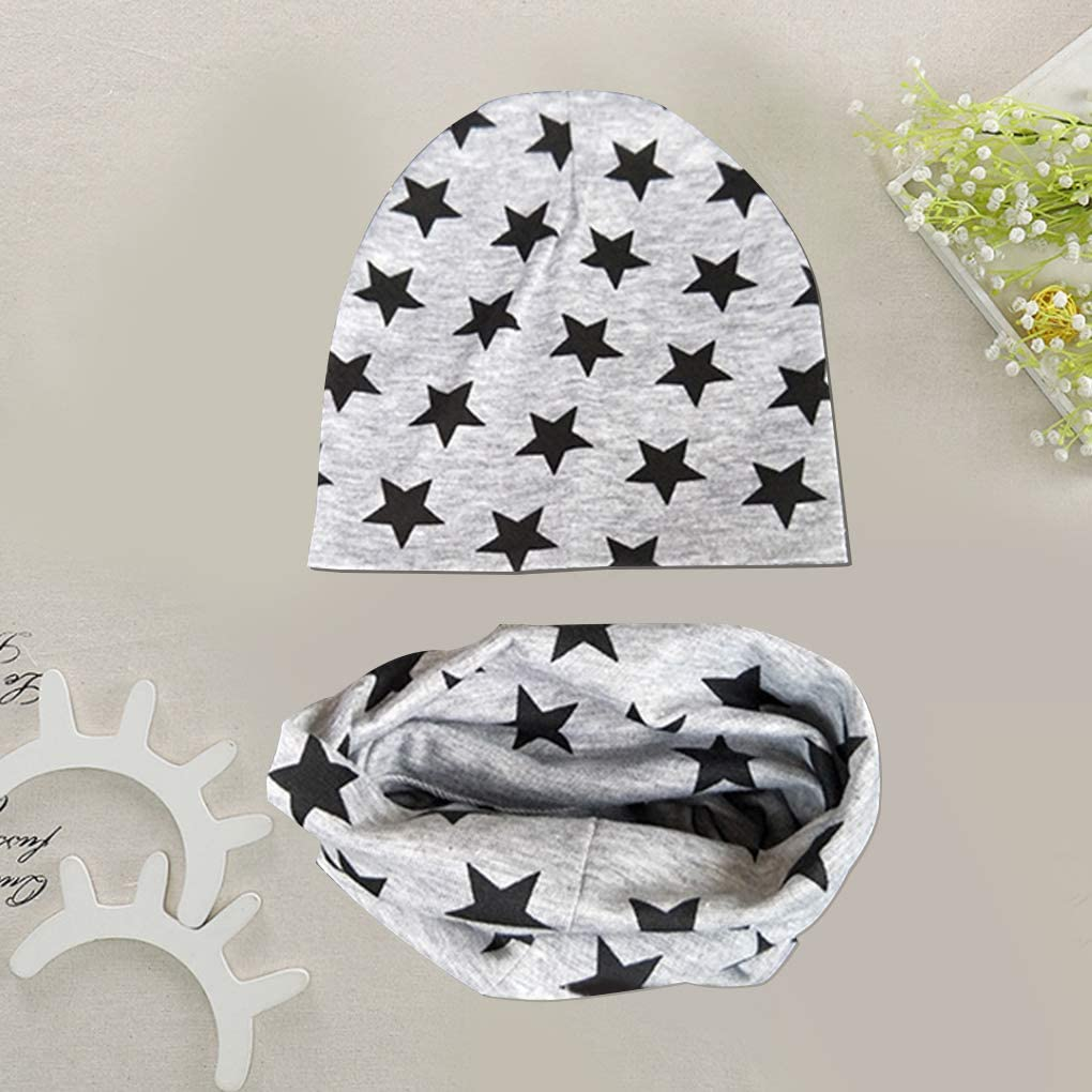 heacker Baby Hat Scarf Set Boys Girls Toddlers Scarf Hats Star Pattern Spring Summer Cotton Beanie Cap