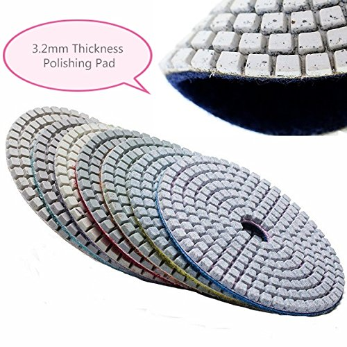 "3"" Diamond Polishing Pad (3.2mm Thickness) 17 Pieces stone granite marble concrete glass quartz travertine slate use with variable speed wet polisher grinder sander terrazzo repair floor renew"