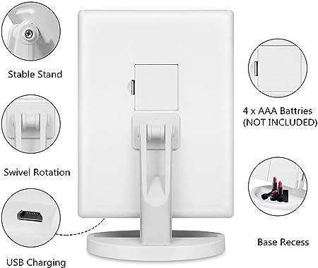 Noir LED Miroir de Maquillage,HOMI Miroir de Bureau Lumineux /à LED de Magnification 1X 3X Batterie et Charge USB Rotation de 180 Degr/és Libre R/églable 2X