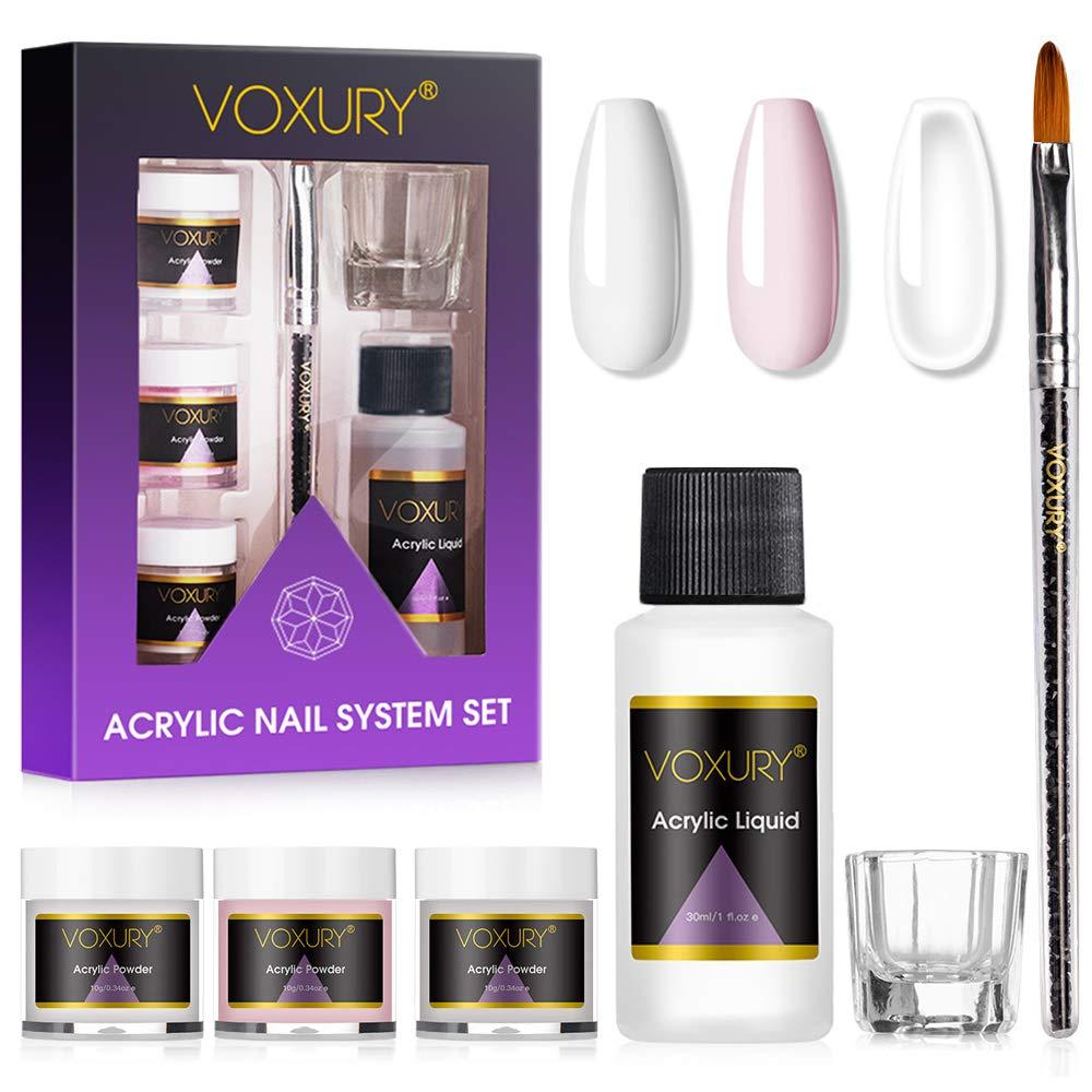 Voxury Set mit Acrylpulver und Flüssigkeit, 25 Farben, Transparent ...