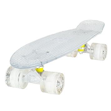 Land Surfer Monopatín Cruiser Retro Completo 56 Centímetros - Tabla Transparente Y Ruedas Blancas Con LED: Amazon.es: Deportes y aire libre