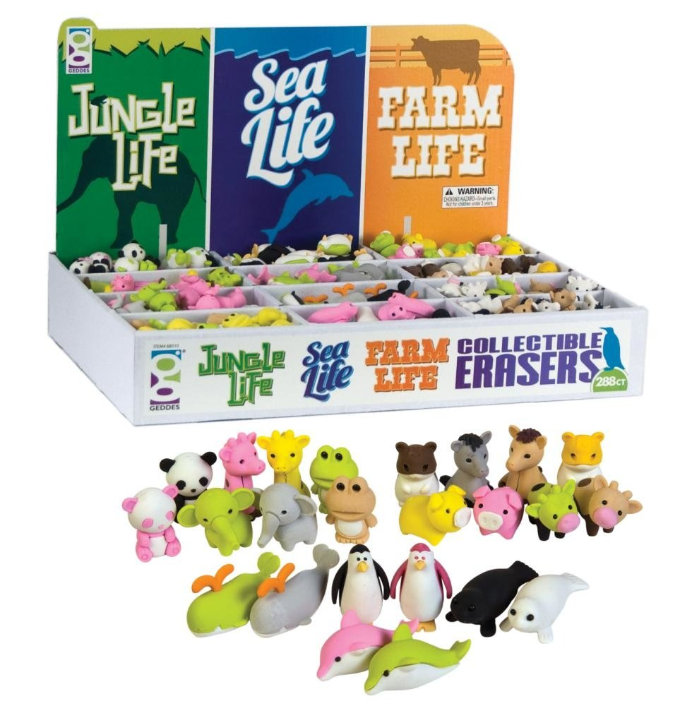 Raymond Geddes Jungle Sea & Farm Life Collectible Erasers, 288 Pack (68510) by Raymond Geddes