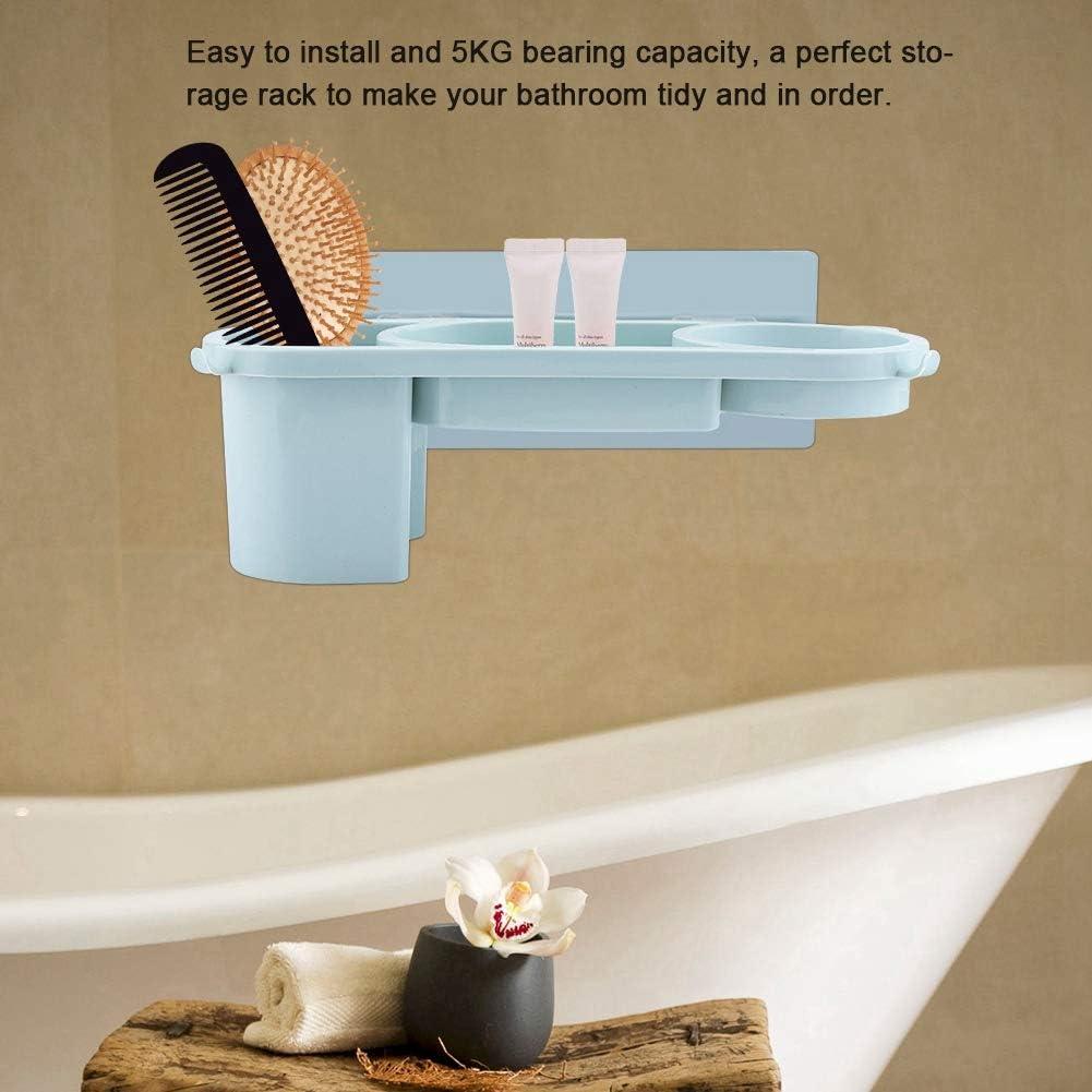 Azul Soportes para peine de secador de pelo montado en la pared cesta organizador herramientas multifuncionales para el cuidado del cabello estante de almacenamiento impermeable para planchas para