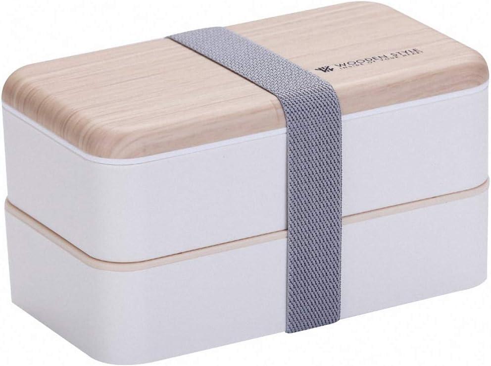 O-Kinee Fambrera Infantil, Lunch Box, 1200ml Fiambrera con Lonchera Doble, Cuchara Tenedor Lonchera, Bento Box Sostenible, para Microondas y Lavavajillas (Blanco)