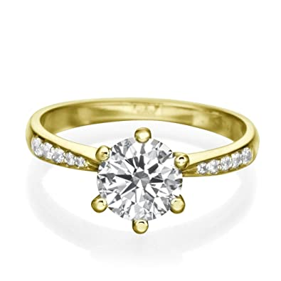 91597ca7ffad0 1 CT Solitaire Diamond Ring Round Shaped Stone with Accents H SI1 (Clarity  Enhanced) 18ct Yellow Gold  Amazon.co.uk  Jewellery