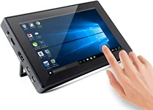 Waveshare 7inch HDMI LCD (H) (with case) 1024x600 Resolution Monitor IPS Capacitive Touch Screen with Toughened Glass Cover Supports Pi 4 B/Jetson Nano
