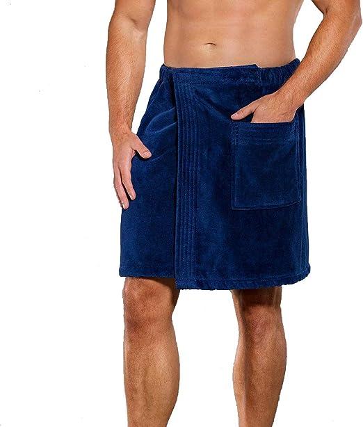 Men Adjustable Strong Absorbent Gym Bath Skirt Wrap Beach Towels Pokcet Bathrobe