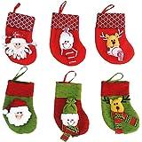 Veewon Calza della Befana di natale del pupazzo di neve Babbo Natale Borsa Calze Borsa presenti confezione regalo, un insieme di 6 (Colore casuale)