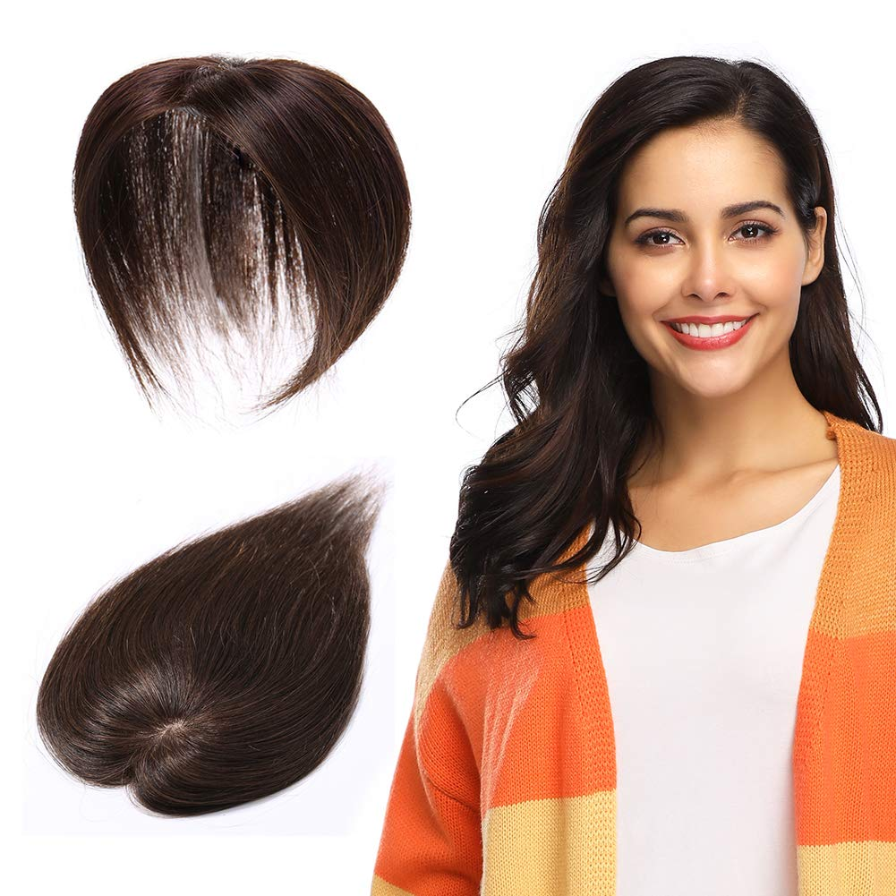 100% Remy Human Hair Silk Base Top Hairpieces Replacement Clip in Topper For Women Crown Top Piece Short 10''/10inch #4 Medium Brown 20g by MY-LADY