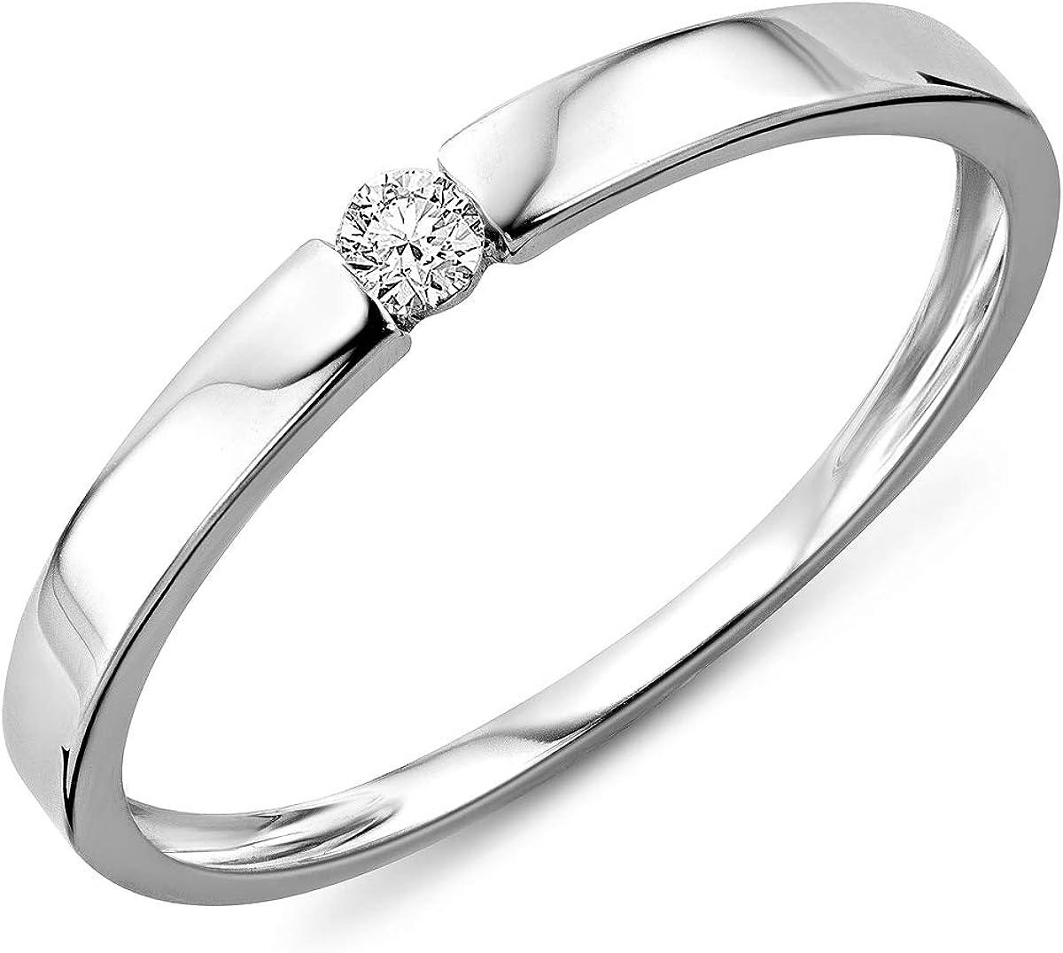 Mujer-ring Miore Solitaire 9 Quilates (375) oro blanco con texto en blanco talla redonda 05ct, 0 crotalo - M9067R