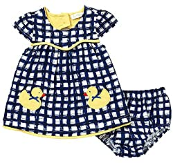 Le Top Baby Girls Lucky Duck Gingham Dress & Panty Set, Blue White Yellow, 12 Months