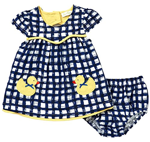 White Yellow Gingham (Le Top Baby Girls Lucky Duck Gingham Dress & Panty Set, Blue White Yellow, 9 Months)