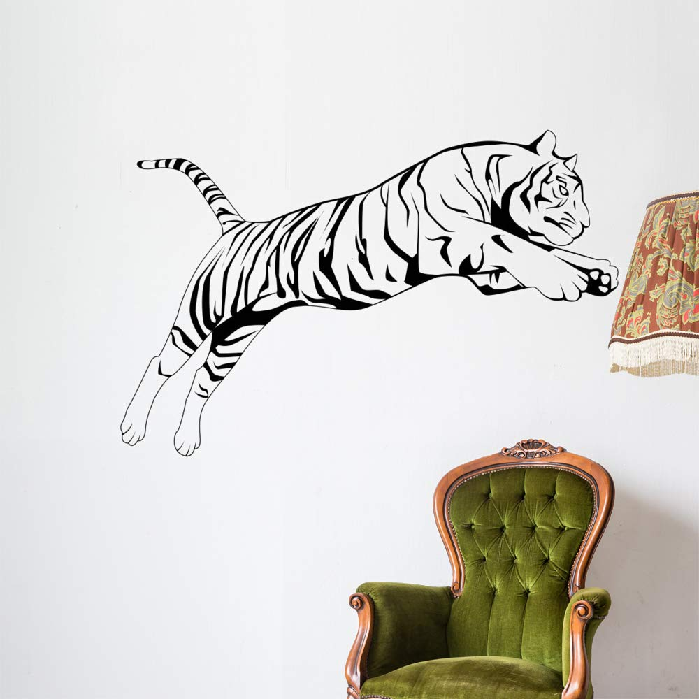 Wallmonkeys Tiger Jump Wall Decal Peel and Stick Animal Graphics (60 in W x 40 in H) WM497067