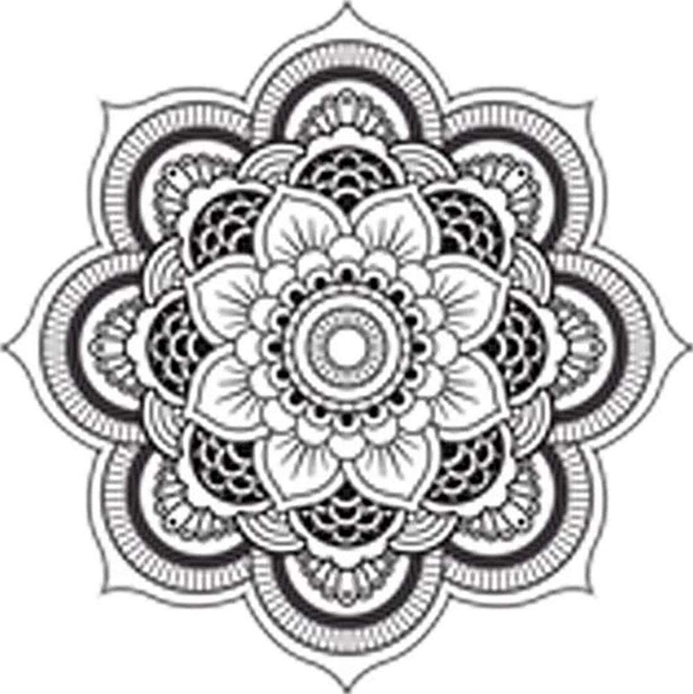 Divine Designs Detailed Mandala Design Black White Vinyl Decal Sticker Two in One Pack (4 Inches Wide)