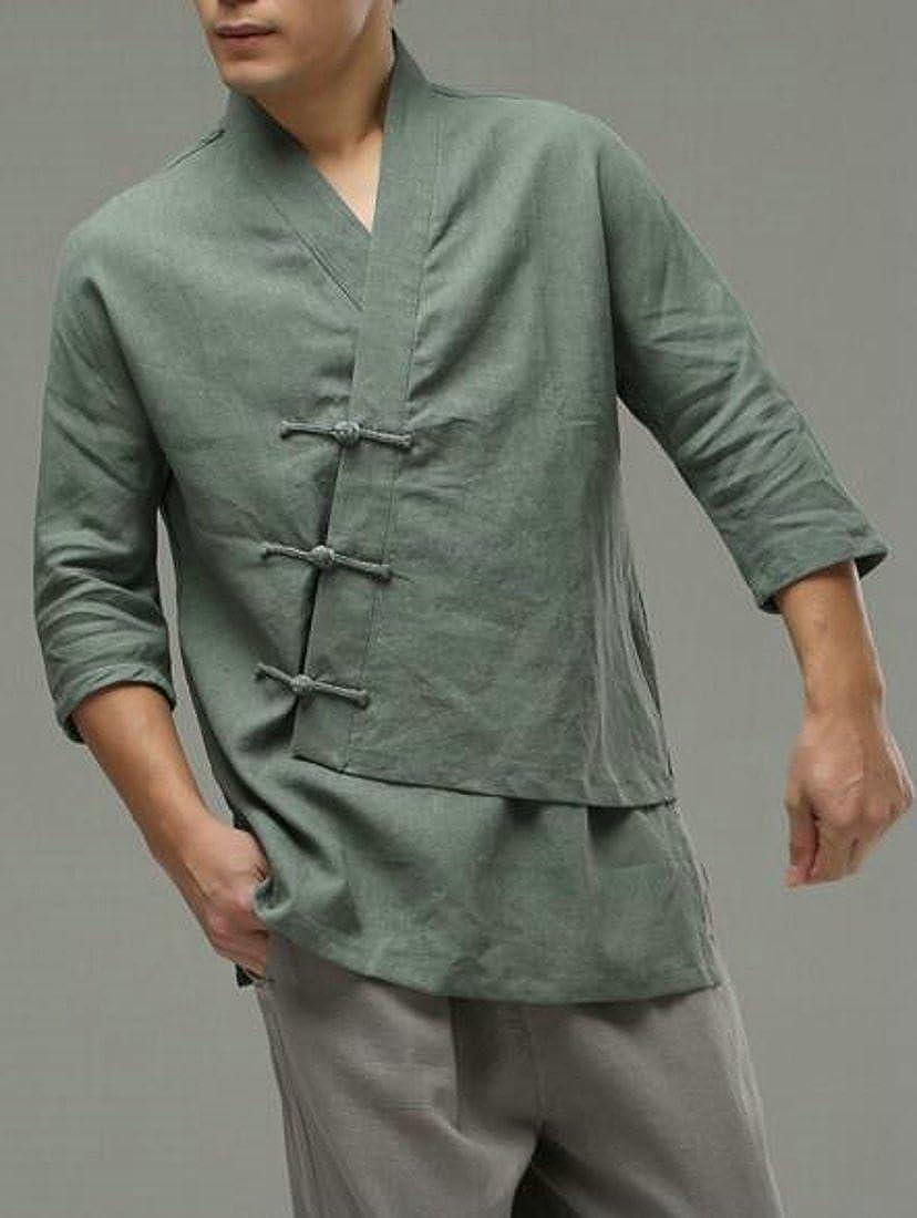 Green XiaoTianXin-men XiaoTianXin-men XiaoTianXin-men clothes XTX Mens Loose Top Linen Breathable Casual Oblique Button Solid color Shirts 01ef1c