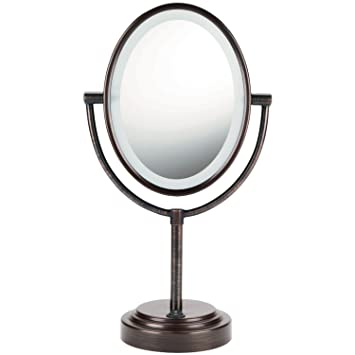 conair lighted mirror. conair oval shaped double-sided lighted makeup mirror; 1x/7x magnification; oiled mirror