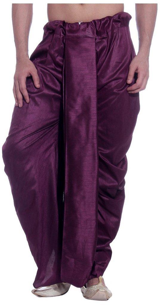 Royal Kurta Men's Art Silk Fine Quality Ready To Wear Dhoti pants Free Size Purple