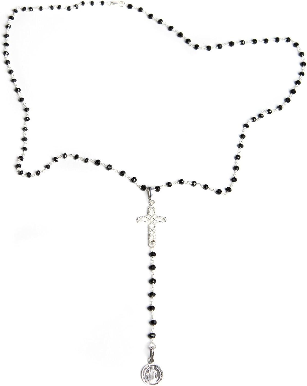croix et m/édaille de San Benito en argent sterling Collier de chapelet en onyx