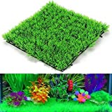 """Foodie Puppies Artificial Plastic Plant For Decoration - 11"""" Square Mat Grass Set Of 2"""