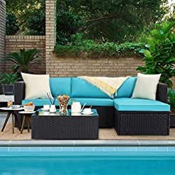 Garden and Outdoor VITESSE 5 Pieces Outdoor Furniture Sets, Patio Sectional Furniture Sets, Outdoor sectional All Weather PE Rattan Wicker… patio furniture sets