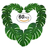 60pcs Tropical Palm Leaves丨Artificial Monstera Leaves丨Tropical Leaf Placemats丨Hawaiian Luau Party Wedding Decorations丨Table Centerpieces Wall Décor by Gooidea