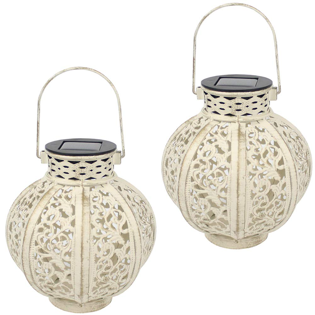 Maggift 2 Pack Hanging Solar Lights Outdoor Solar Lights Retro Hanging Solar Lantern with Handle, 4 Lumens, White by Maggift (Image #4)