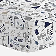 Carousel Designs Navy Brave Fox Crib Sheet - Organic 100% Cotton Fitted Crib Sheet - Made in The USA
