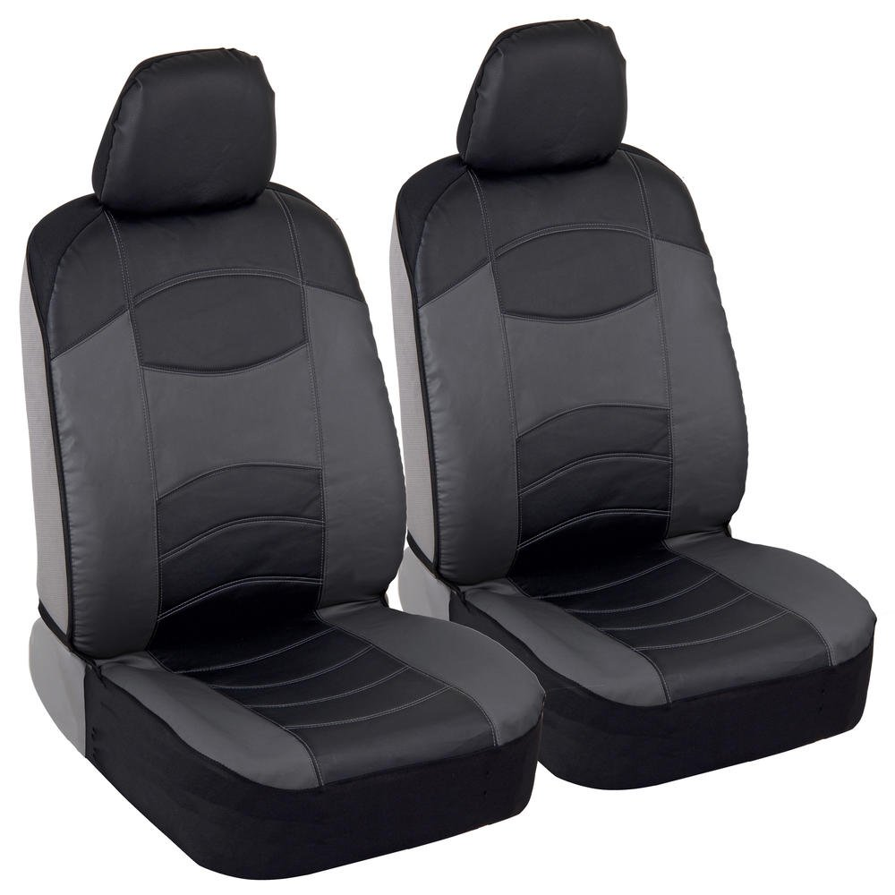 BDK v-Leather Car Seat Covers - Synthetic Leather Automotive Interior Protection Black/Light Gray - Front Seat Covers - Airbag Compatible - 3-Step Installation – (2PC) (Dark Gray)