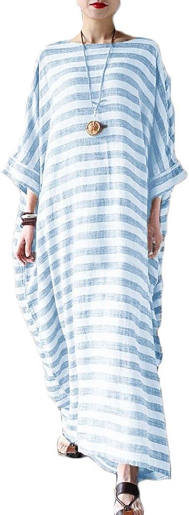 Womens Short Sleeve Stripe Printed Casual Loose Kaftan Long Maxi Dress Plus Size