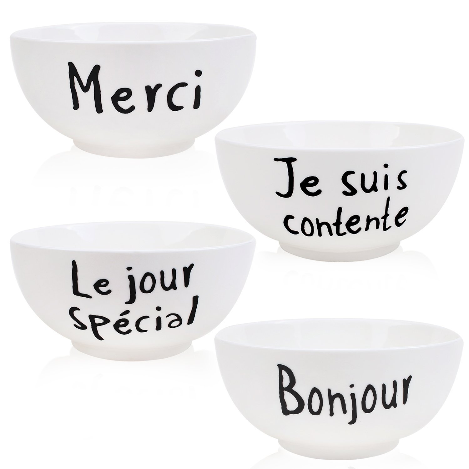 White Porcelain Deep Bowls for Cereal Soup and Salad, Assorted French Words Patterns, 25-Ounce Set of 4