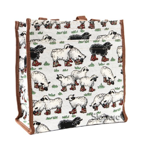 Borsa donna Signare in tessuto stile arazzo Shopping alla moda animale (Pecore)