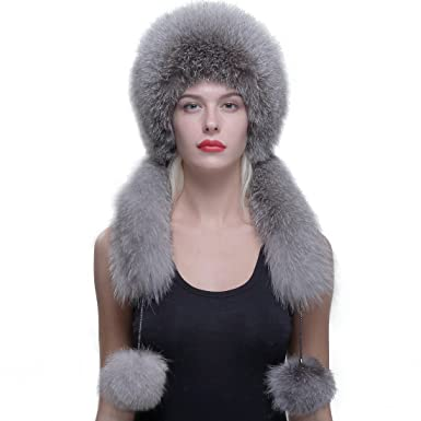 b3c21a91ebc URSFUR Real Fox Fur Roller Hat with Rabbit Top Fox Ear Flap Pom Pom  Multicolor