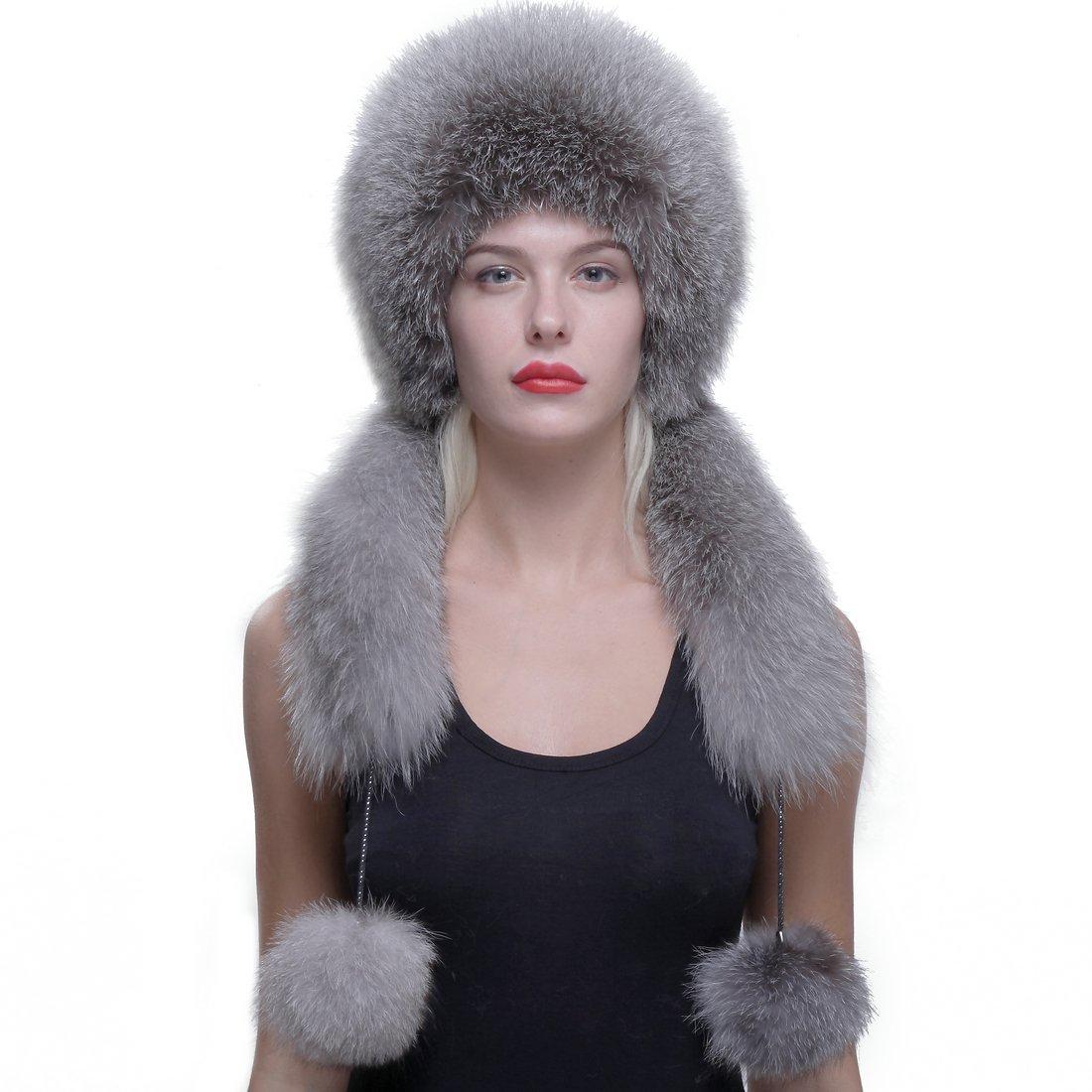 URSFUR Real Fox Fur Roller Hat with Rabbit Top Fox Ear Flap Pom Pom Multicolor