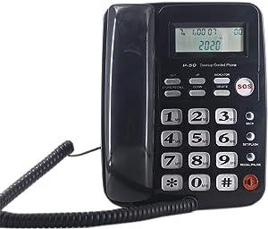 Corded Phone with Caller ID - Desktop Phone for Landline Elderly with 40dB Amplified Ringer for Seniors Hands-Free Speakerphone, SOS Emergency Speed Dial Home Office Telephone (Black)