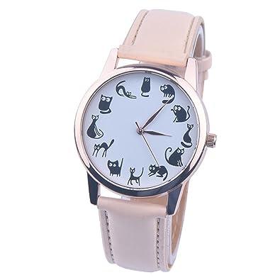reloj- Susenstone Banda cuero cuarzo analógico relojes moda (Beige)