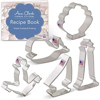 product image for Ann Clark Cookie Cutters 5-Piece Nautical Cookie Cutter Set with Recipe Booklet, Anchor, Sailboat, Lighthouse, Seashell and Whale