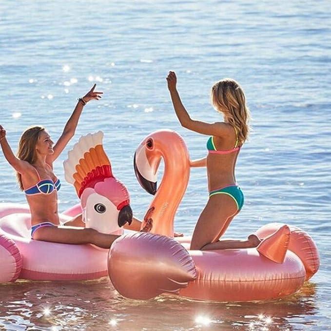 Hinchable Colchoneta Flamenco, Seguro y Estable Juguete Hinchable Flotante Gigante Flamingo, Extremadamente Grueso y Duradero Flamenco Hinchable para ...