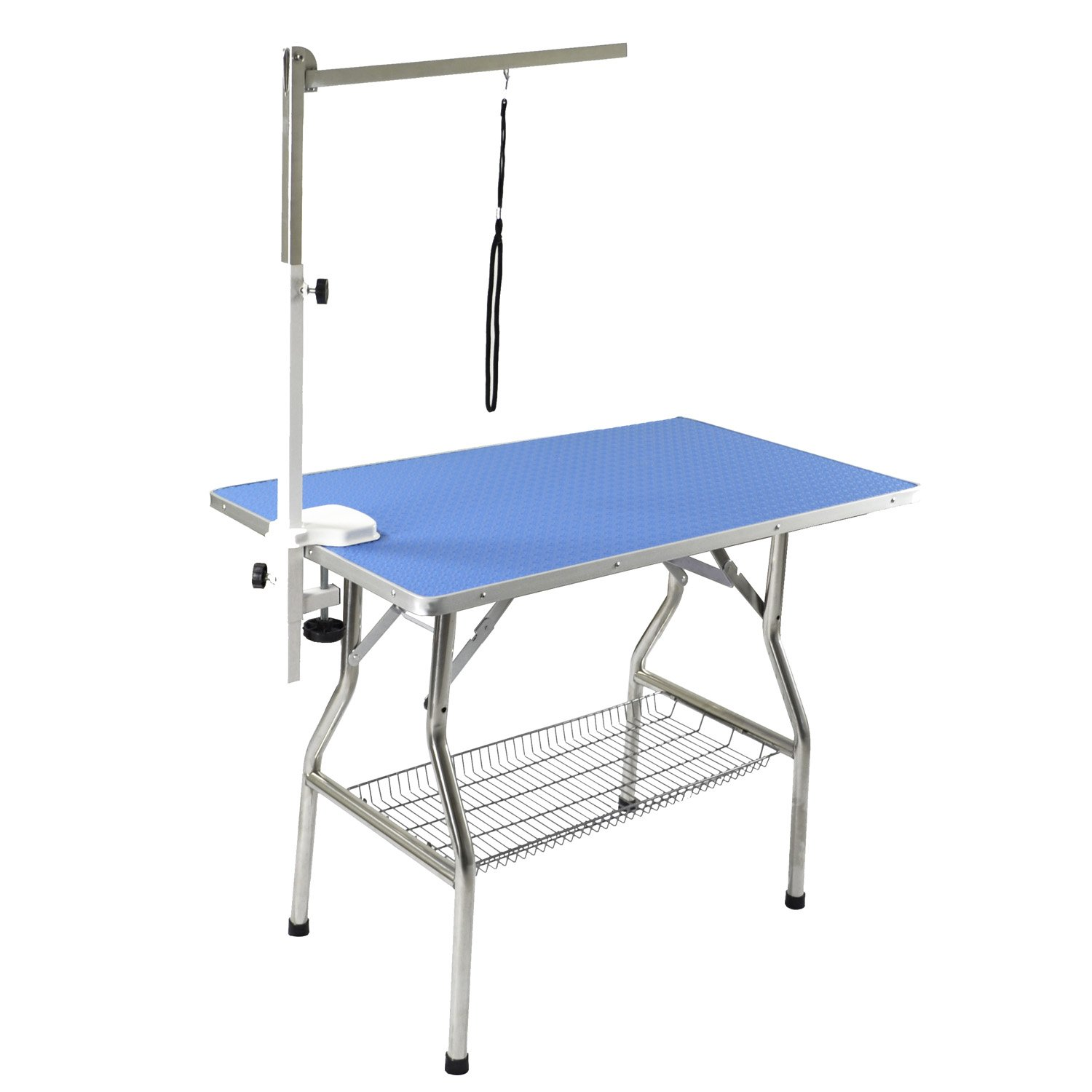 Flying Pig 32'' Small Size Heavy Duty Stainless Steel Frame Foldable Dog Pet Grooming Table (32''x21'', Blue)