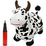 Cow Hopping Horse, Outdoors Ride On Bouncy Animal Play Toys, Inflatable Hopper Plush Covered with Pump, Activities Gift For 2, 3, 4, 5 Year Old Kids Toddlers Boys Girls - iPlay, iLearn