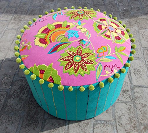 VLiving Bright Pink and Turquoise Stylized Floral Pouf Cover Bohemian Ottoman Cover Appliqued and Embroidered with Pompoms 22x12 Inches by VLiving