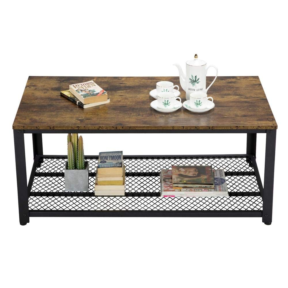 Topeakmart Coffee Table with Storage Shelf for Living Room, Metal Legs End Table, Rustic Home Decor by Topeakmart