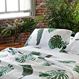 Huddleson Linens Tropical Leaves Palm Print Pure Italian Linen Sheet Set - Full