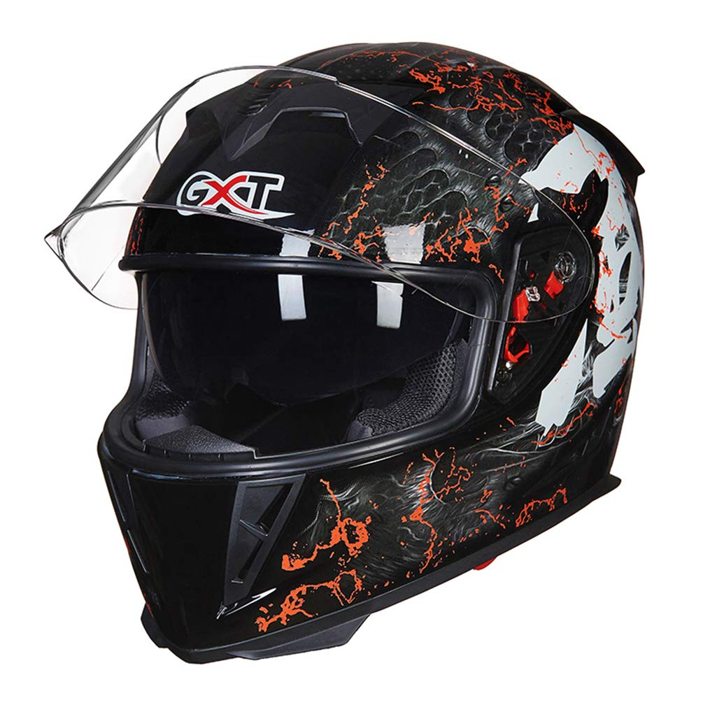 Qianliuk 358 Männer Motorrad-Motorcross Helm Herbst Winter Doppel-Lens Anti-Fog Helme Full Face Motorbike Cap Helm sub schwarz 54-60cm