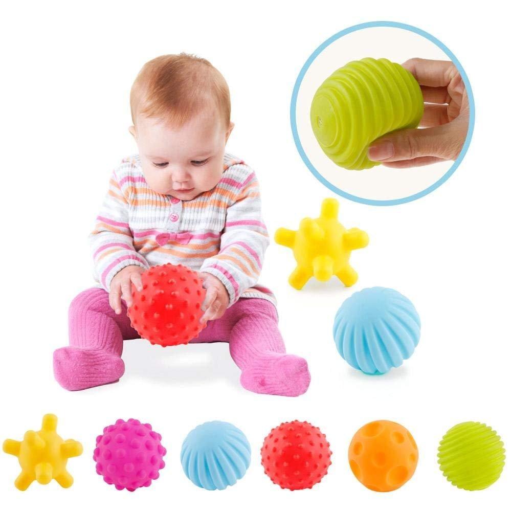 ROHSCE 6pcs Baby Textured Multi Ball Set Infant Sensory balls Massage Soft ball