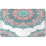 Memory Foam Bath Mat,Henna,Soft Colored Mandala South Asian Culture Inspired Ethnic Style Floral Image DecorativePlush Wanderlust Bathroom Decor Mat Rug Carpet with Anti-Slip Backing,Turquoise Coral