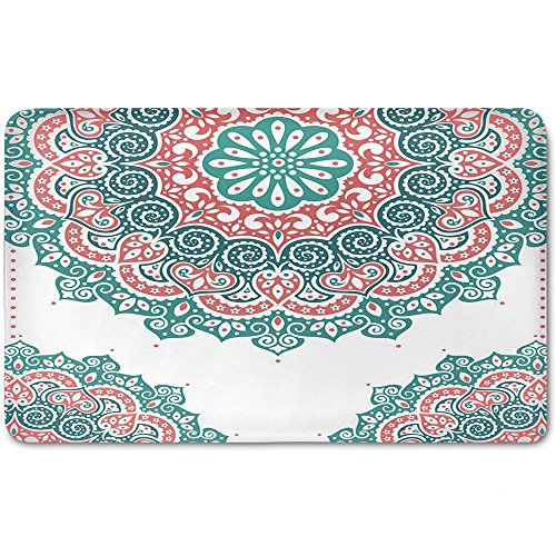 Memory Foam Bath Mat,Henna,Soft Colored Mandala South Asian Culture Inspired Ethnic Style Floral Image DecorativePlush Wanderlust Bathroom Decor Mat Rug Carpet with Anti-Slip Backing,Turquoise Coral by iPrint
