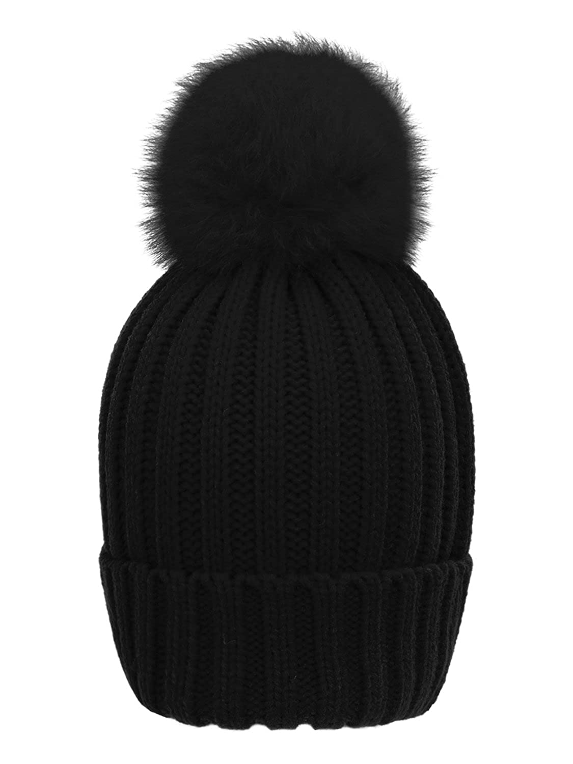 8d574792d55 LITHER Winter Knit Hat Real Fox Fur Pom Pom Womens Girls Knit Beanie Hat  Black at Amazon Women s Clothing store
