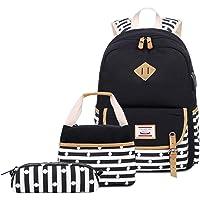 Neuleben: plecak szkolny + torba chłodząca + piórnik, z płótna, dla chłopców i dziewczynek (zestaw 3-częściowy), Black E…